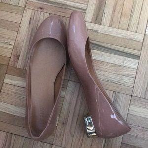 JCrew Lily patent ballet flats with metallic heel